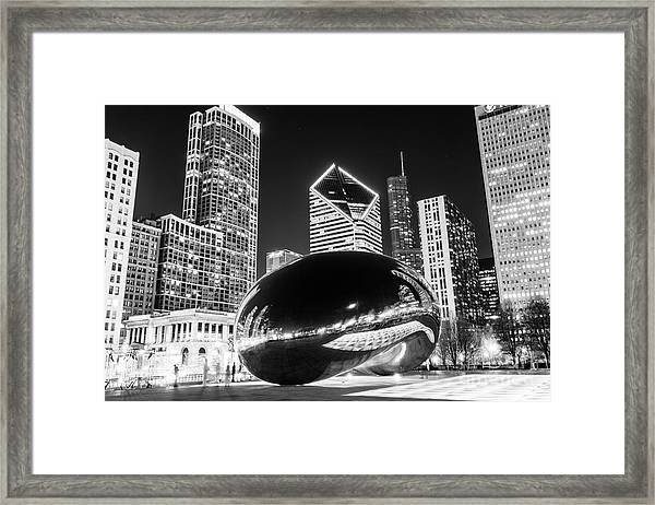 Cloud Gate Chicago Bean Black And White Picture Framed Print by Paul Velgos