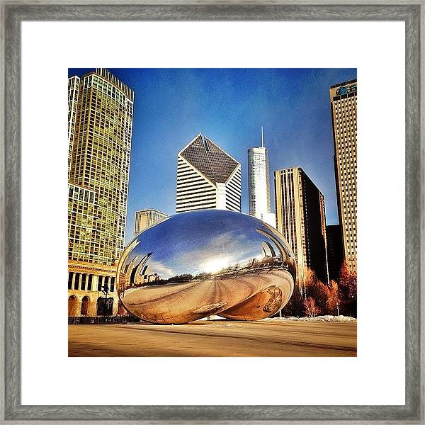 Cloud Gate chicago Bean Sculpture Framed Print