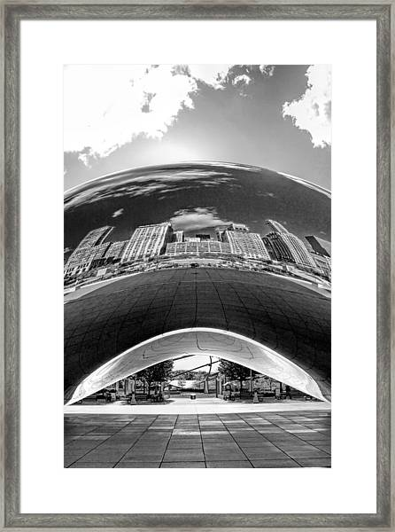 Cloud Gate Under The Bean Black And White Framed Print