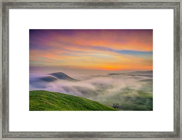 Clouds And Fog At Sunrise Framed Print