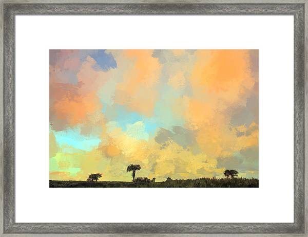 Clouds And Sunset Over Beach Dunes Framed Print