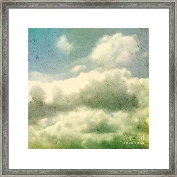 Clouds. Grungy Vector Illustration Framed Print