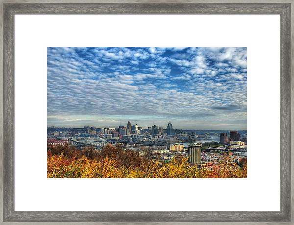 Framed Print featuring the photograph Clouds Over Cincinnati by Mel Steinhauer