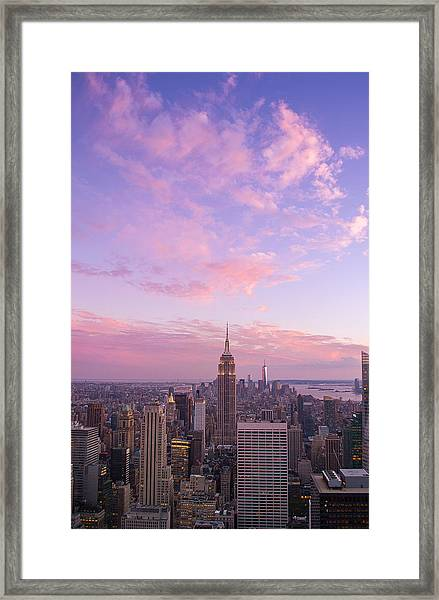 clouds over Empire State Framed Print