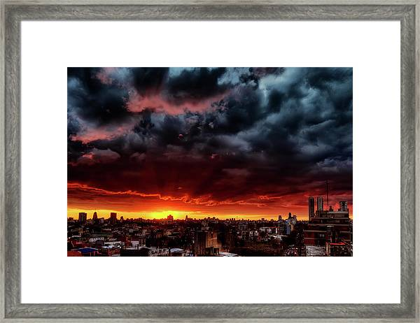 Clouds, Sunset And Red Framed Print