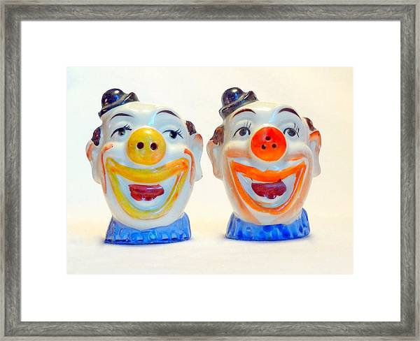 Vintage Clown Salt And Pepper Shakers Framed Print
