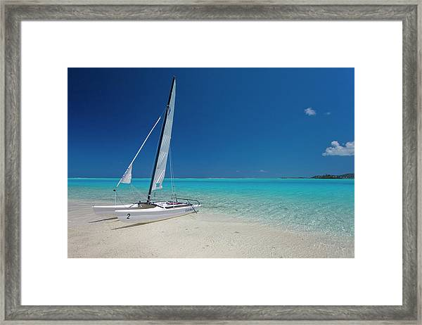 Club Med Sailing Catamaran On Shore Of Framed Print