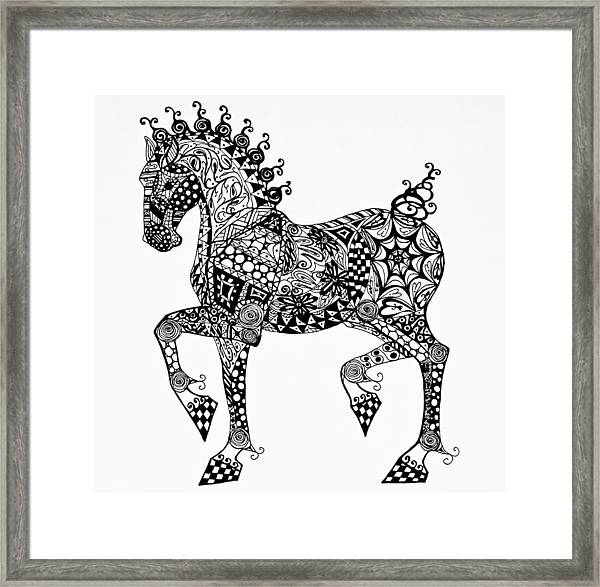 Clydesdale Foal - Zentangle Framed Print