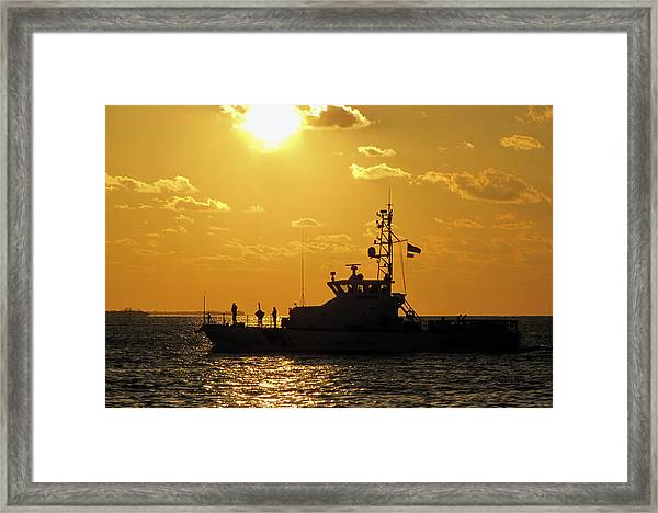 Framed Print featuring the photograph Coast Guard In Paradise - Key West by Bob Slitzan