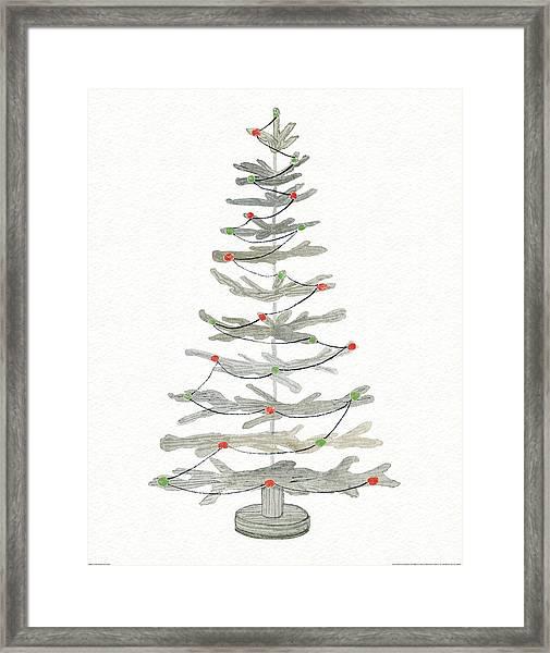 Coastal Holiday Tree II Red Framed Print