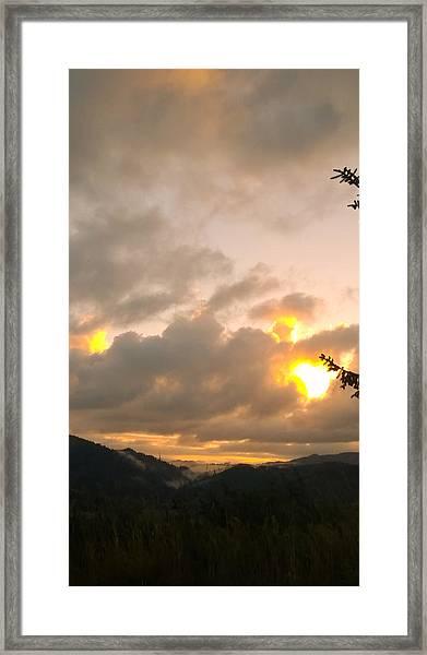 Coastal Mountain Sunrise Framed Print