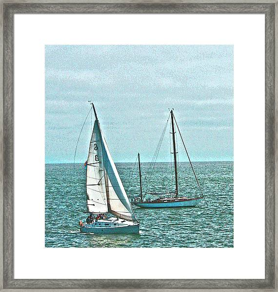 Coastal Sail Boats Framed Print