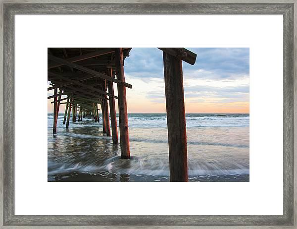 Coastal Sunset At Oceanana Fishing Pier Framed Print