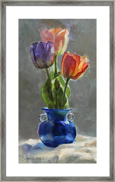 Cobalt And Tulips Still Life Painting Framed Print