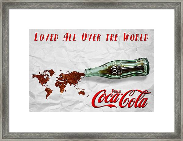 Coca Cola Loved All Over The World Framed Print