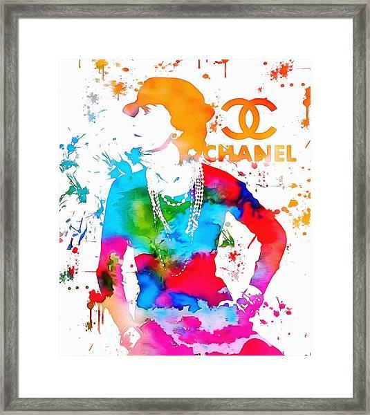 Coco Chanel Paint Splatter Framed Print