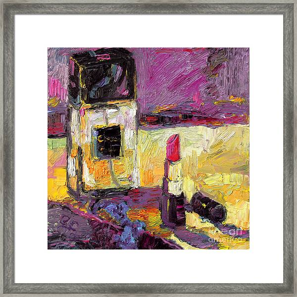 Coco Chanel Perfume And Lipstick Framed Print