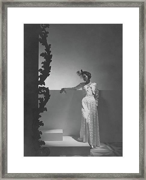 Coco Chanel Wearing A Chiffon Dress Framed Print