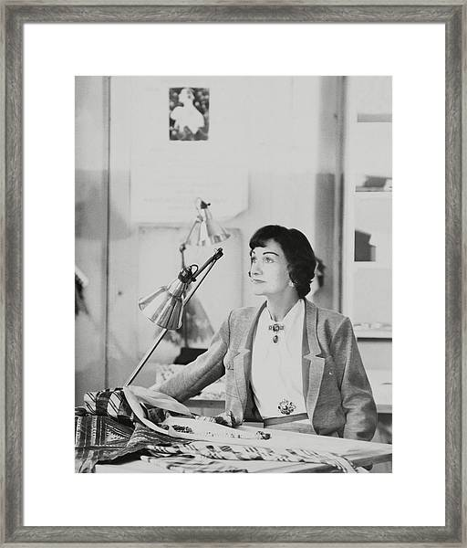 Coco Chanel Wearing A Jacket Framed Print