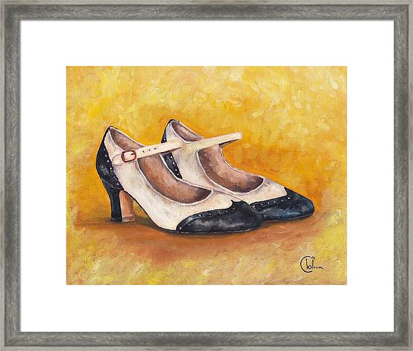 Pair Of 1920s Flappers Heels Mary Janes Framed Print