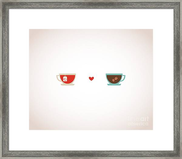 Coffee And Tea In Love Cups Framed Print