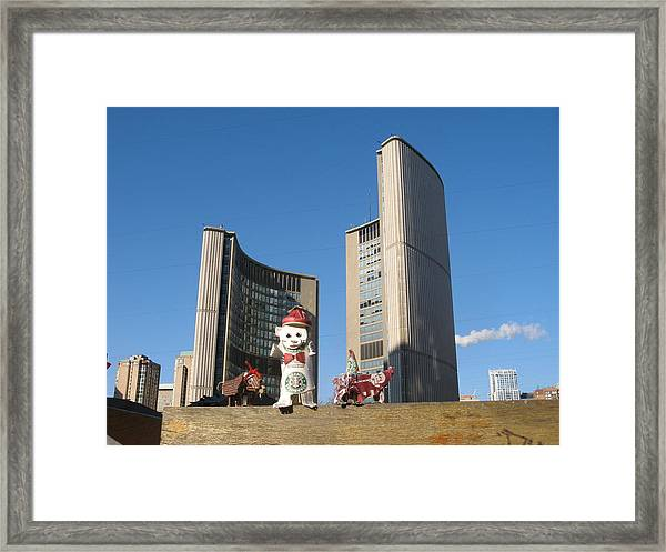 coffee cup animals at City Hall Framed Print