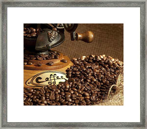 Coffee Grinder With Beans Framed Print