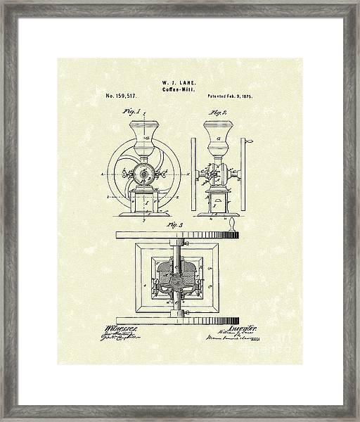 Coffee Mill 1875 Patent Art Framed Print