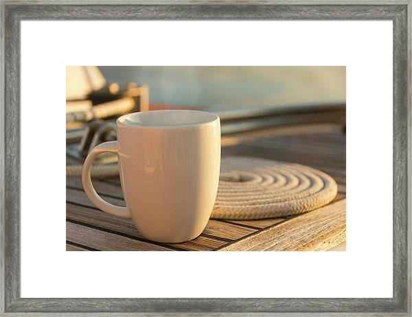 Coffee Or Tea Cup On 62 Foot Sailboat Framed Print