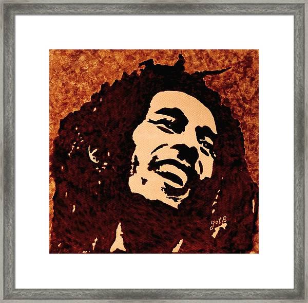 Coffee Painting Bob Marley Framed Print