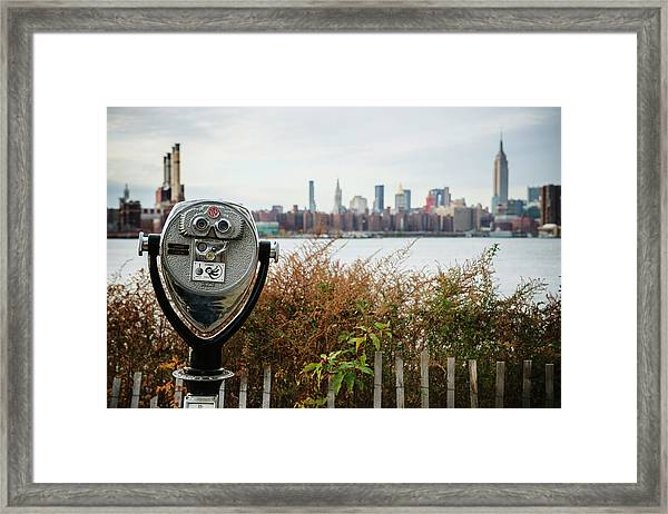 Coin Operated Binoculars Looking Out Framed Print