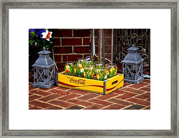 Framed Print featuring the photograph Coke And Daffodils by Williams-Cairns Photography LLC