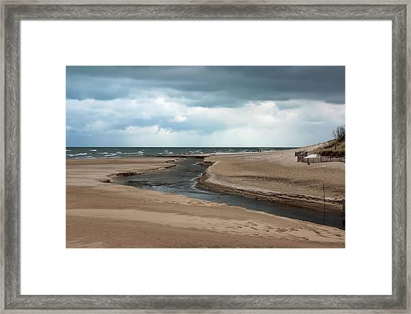 Cold Morning At The Beach Framed Print