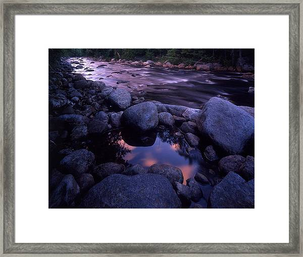 Cold River Sunset Framed Print