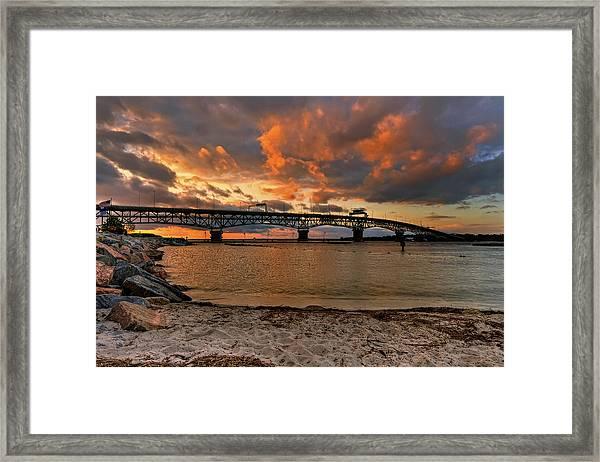 Coleman Bridge At Sunset Framed Print
