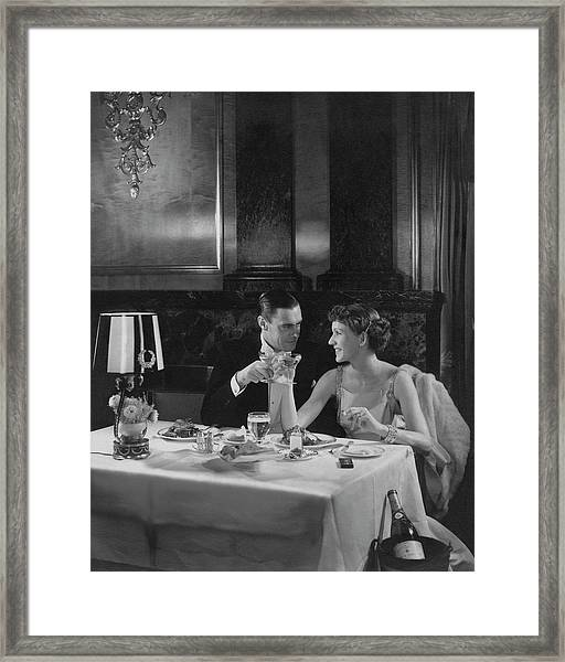 Colin Clive And Rose Hobart At Waldorf Framed Print