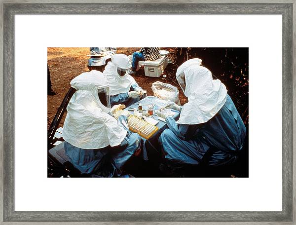 Collecting Ebola Samples Framed Print