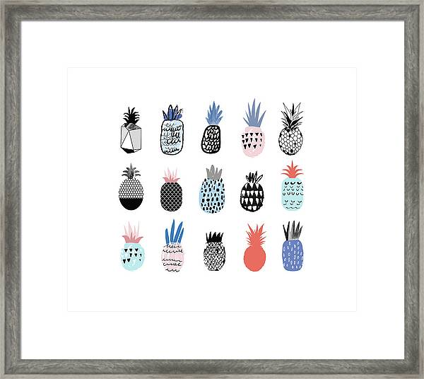 Collection Of Cute Pineapples With Framed Print