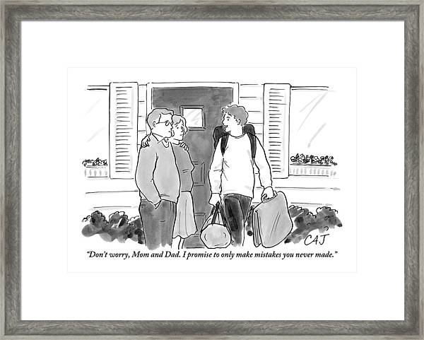 College Student Leaving Parents Framed Print