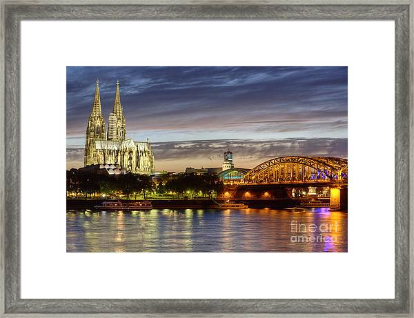 Cologne Cathedral With Rhine Riverside Framed Print
