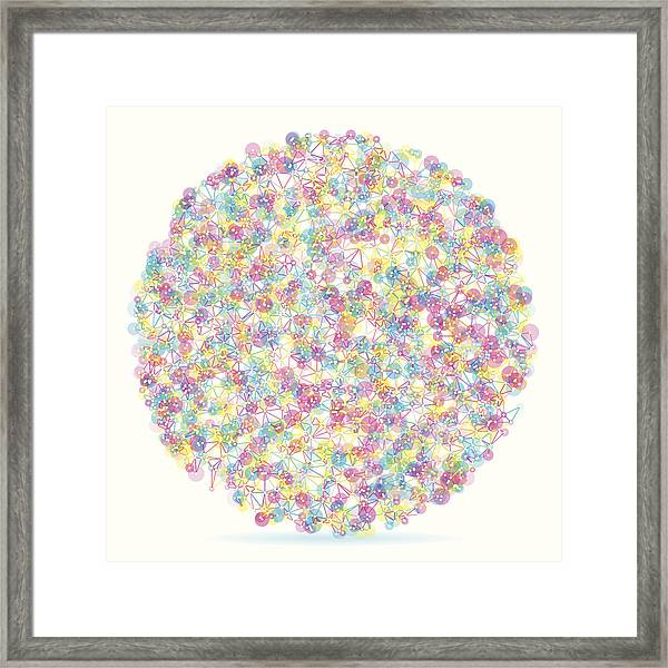 Color Circle Abstract Network Pattern Framed Print by FrankRamspott