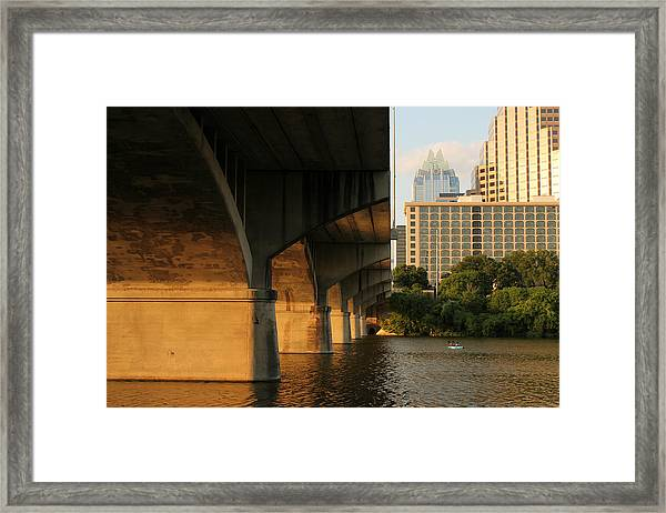 Colorado River Running Under Congress Street Bridge In Austin Texas Framed Print