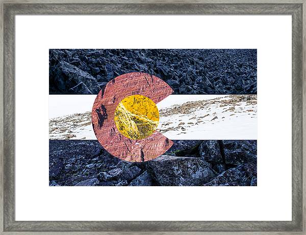 Colorado State Flag With Mountain Textures Framed Print