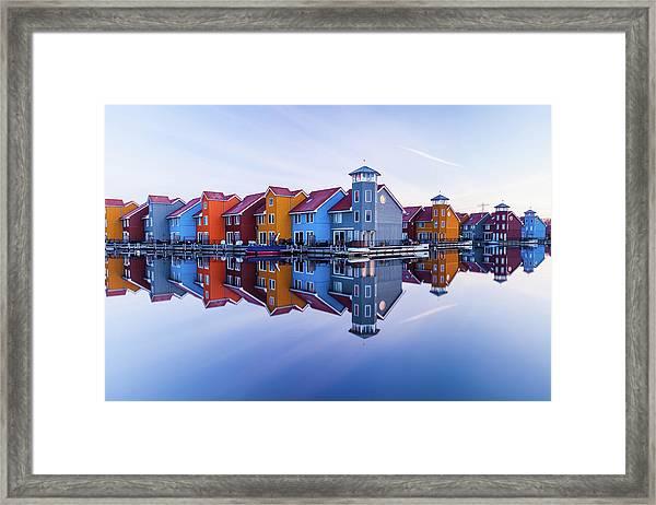 Colored Homes Framed Print