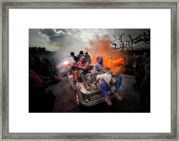 Colorflour Galaxidi, Greece. Framed Print