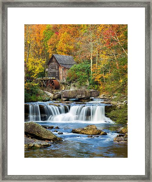 Colorful Autumn Grist Mill Framed Print