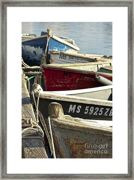 Colorful Boats At Dock Framed Print