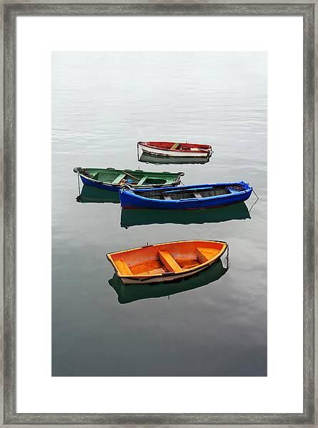 colorful boats on Santurtzi Framed Print