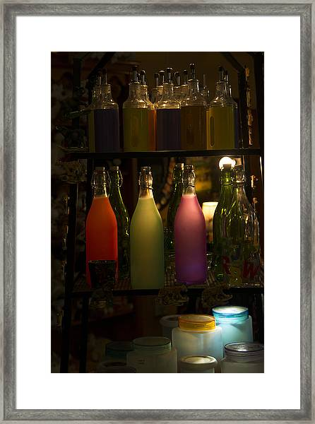 Colorful Bottle Display Framed Print