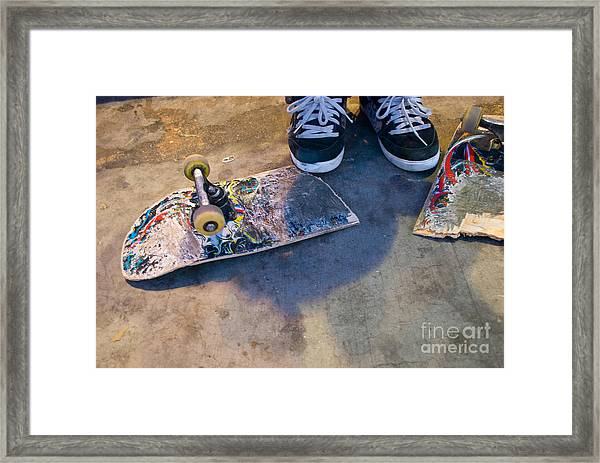 Colorful Busted Skateboard With Shoes  Framed Print